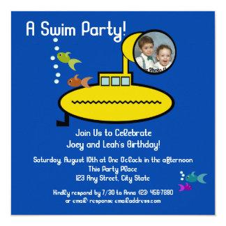 写真を持つ海底水泳のパーティー カード