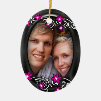 写真を結婚する初めてのクリスマスは個人化なります セラミックオーナメント