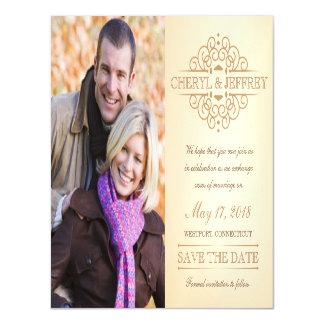 写真を結婚する日付エレガントなスクロールヴィンテージを救って下さい マグネットカード