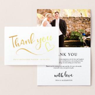 写真を結婚する金ゴールドのハートは感謝していしています 箔カード