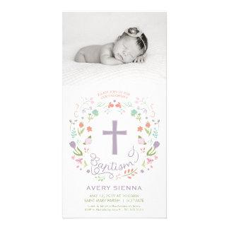 写真カード招待状-女の子--に洗礼を施す洗礼 カード
