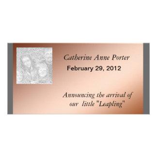 写真カード-うるう日の誕生の発表 カード