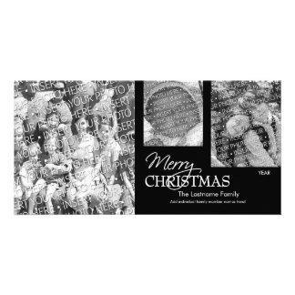 写真カード: メリークリスマスの黒及び白 カード