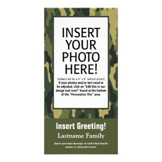写真カード-緑の迷彩柄(休日、家族、他) カード