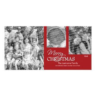 写真カード: 赤いメリークリスマス単に カード