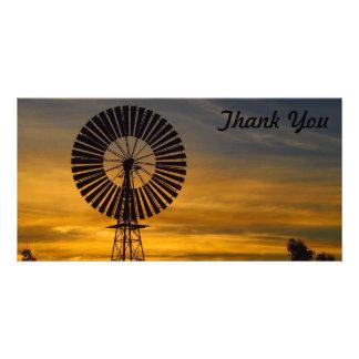 写真カード-風車の日没ありがとう カード