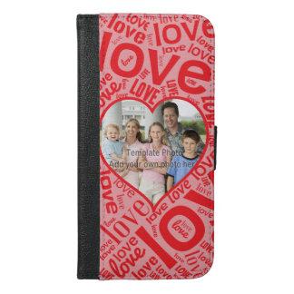 写真テンプレートとの愛ハートの単語の芸術 iPhone 6/6S PLUS ウォレットケース