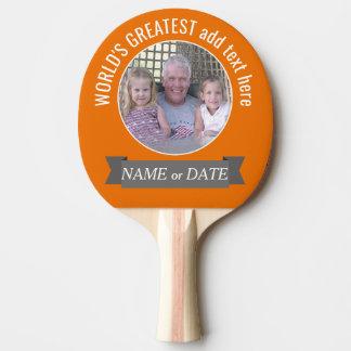 写真及びカスタムの文字-オレンジと最も素晴らしい世界 卓球ラケット