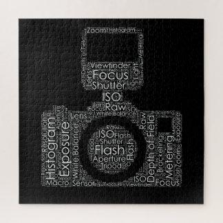 写真撮影の単語の雲のカメラの形 ジグソーパズル