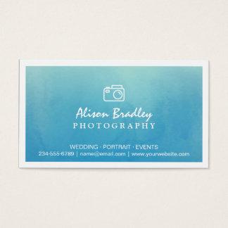 写真撮影の青い水彩画の結婚式の写真のショーケース 名刺