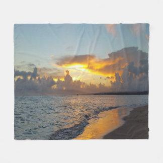 写真17の海の日没 フリースブランケット