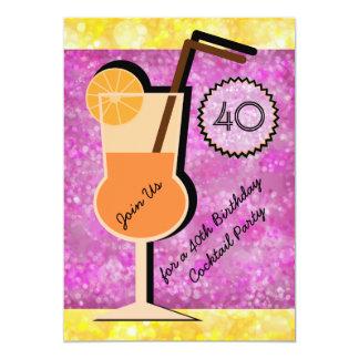 《写真》ぼけ味のカクテルパーティーの誕生日の招待状 カード