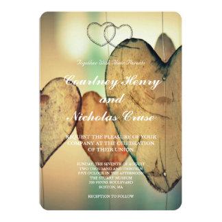 《写真》ぼけ味のハートの結婚式招待状 カード