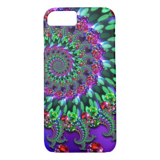 《写真》ぼけ味のフラクタルの紫色のターコイズ iPhone 7ケース