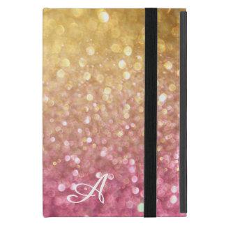 《写真》ぼけ味の揺らめくグリッターの一見の金ゴールドのピンクの輝き iPad MINI ケース
