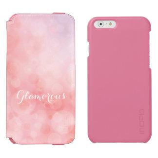 《写真》ぼけ味の珊瑚のピンクの微光のグリッターのフォリオの電話箱 iPhone 6/6Sウォレットケース