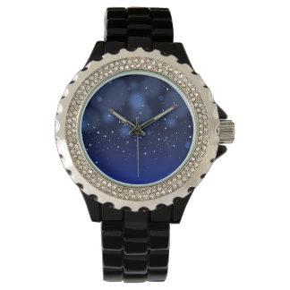 《写真》ぼけ味の青の抽象芸術の星明かりの空 腕時計