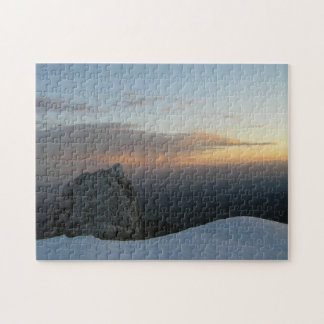 冬および日没の空の山の石 ジグソーパズル
