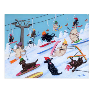 冬のおもしろいのスキーにラブラドールの絵を描くこと ポストカード