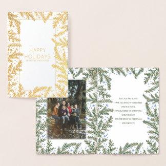 冬のもみの枝クリスマス|の休日の写真 箔カード