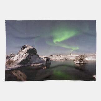 冬のアイスランド キッチンタオル
