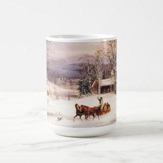 冬のアメリカの国の馬のそりの町のマグ コーヒーマグカップ