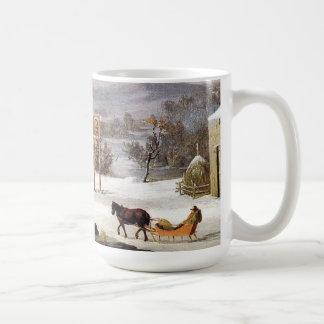 冬のアメリカの馬のそりの町のウシのマグ コーヒーマグカップ