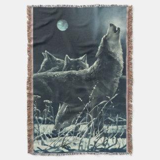 冬のオオカミによって編まれるブランケット スローブランケット
