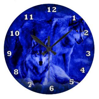冬のオオカミのオオカミの時計 ラージ壁時計