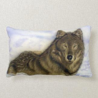 冬のオオカミ ランバークッション