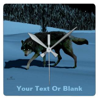 冬のオオカミ- Tapetum Lucidum スクエア壁時計