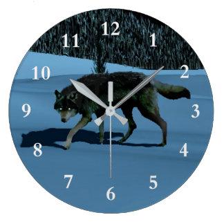 冬のオオカミ- Tapetum Lucidum ラージ壁時計