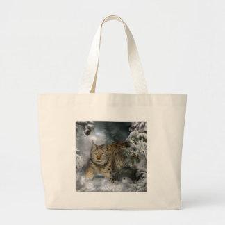 冬のオオヤマネコ ラージトートバッグ