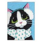 冬のクリスマスカードのために服を着るタキシード猫 カード