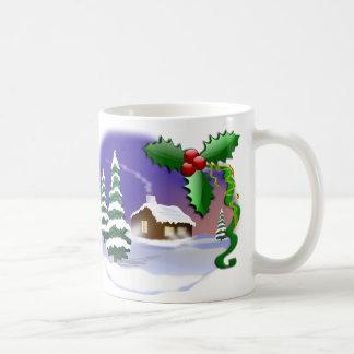 冬のクリスマス場面 コーヒーマグカップ