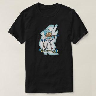 冬のゲームのバイアスロンのアスリートの日本製アニメのイラストレーション Tシャツ