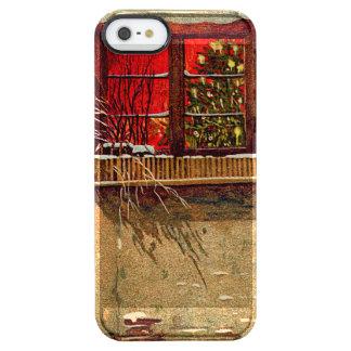 冬のコテージのろうそくに照らされたクリスマスツリーの窓 クリア iPhone SE/5/5sケース