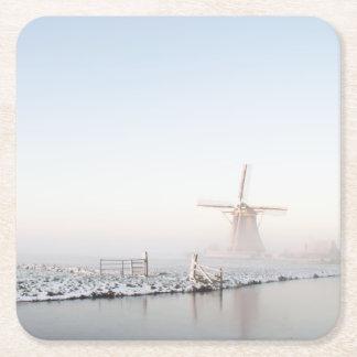 冬のコースターの雪の風車 スクエアペーパーコースター