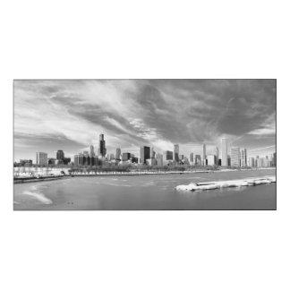 冬のシカゴのスカイラインの全景 ウッドウォールアート
