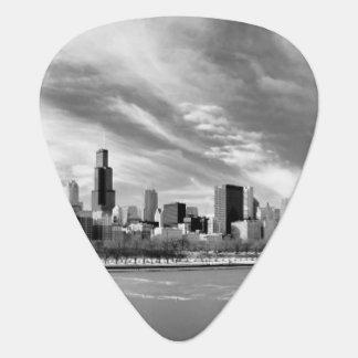 冬のシカゴのスカイラインの全景 ギターピック