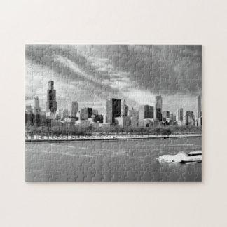 冬のシカゴのスカイラインの全景 ジグソーパズル