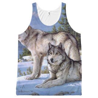 冬のシベリア人の2匹のオオカミ オールオーバープリントタンクトップ