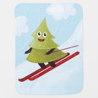 冬のスキーの幸せな松の木 ベビー ブランケット
