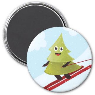 冬のスキーの幸せな松の木 マグネット