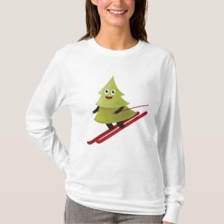 冬のスキーの幸せな松の木 Tシャツ