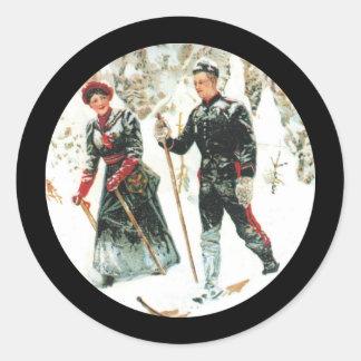 冬のスキーヤー ラウンドシール