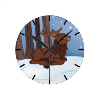 冬のトナカイ ラウンド壁時計
