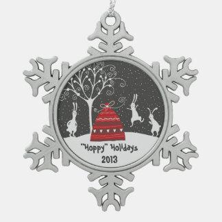 冬のバニーのホップの豊富な休日の雪片のオーナメント ピューター製スノーフレークオーナメント