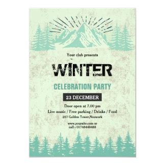 冬のパーティの招待状のフライヤ カード