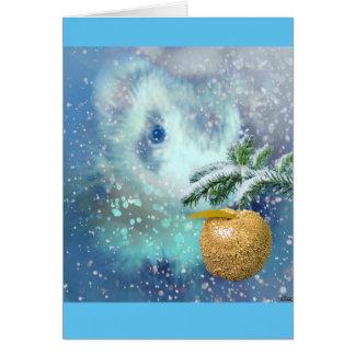 冬のフェレットのクリスマスカード カード